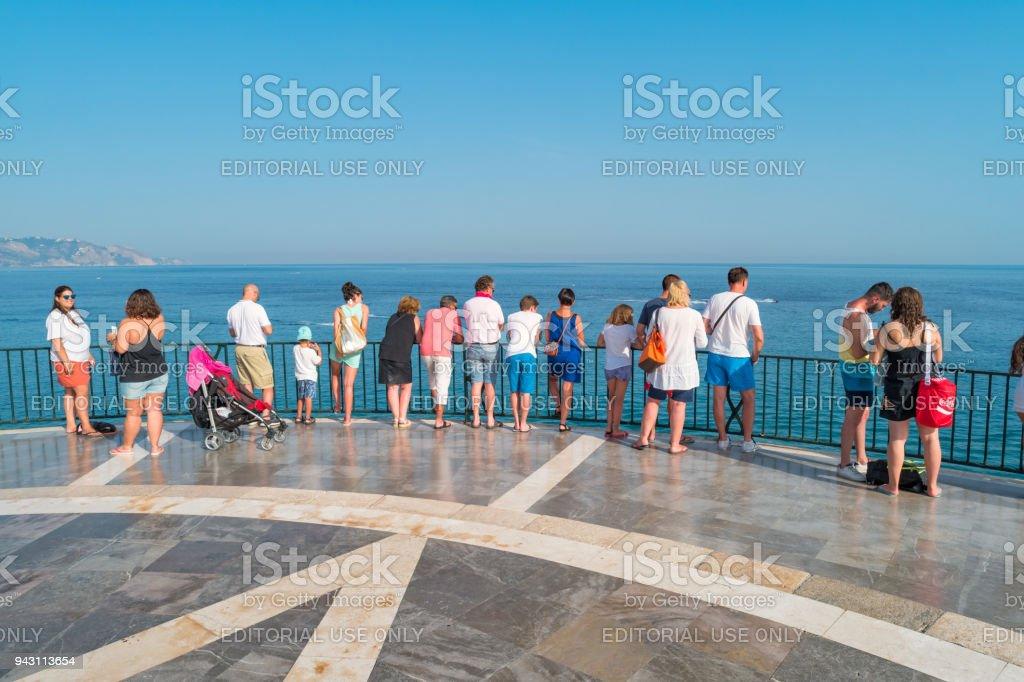 Tourists at Balcon de Europa promenade in Nerja Costa del Sol Spain stock photo