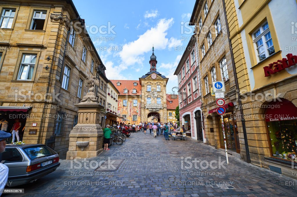 Tourists at Bamberg Old Town Hall stock photo