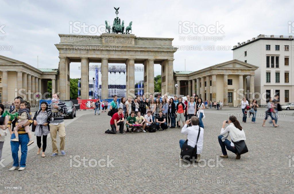 Tourists at Brandenburg Gate royalty-free stock photo