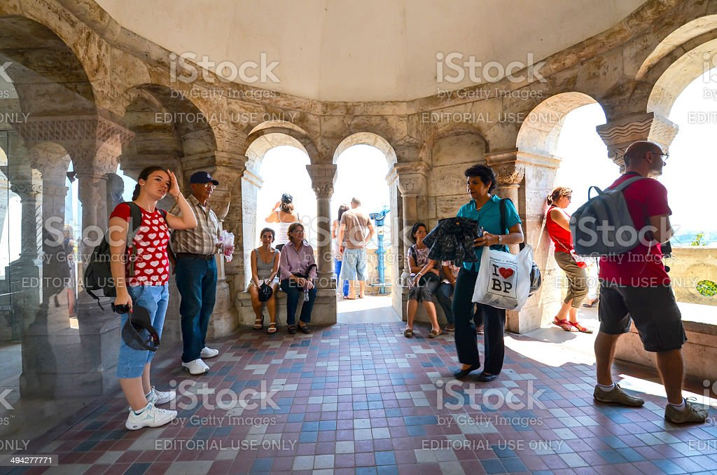 Tourists at Budapest city royalty-free stock photo