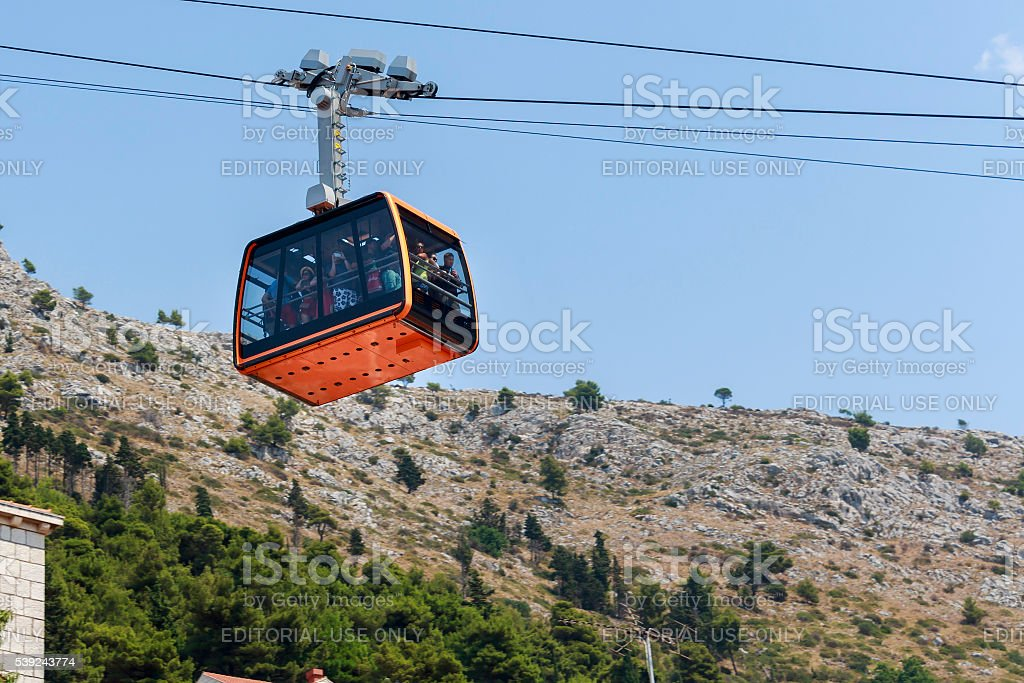 Tourists at Cable car royalty-free stock photo