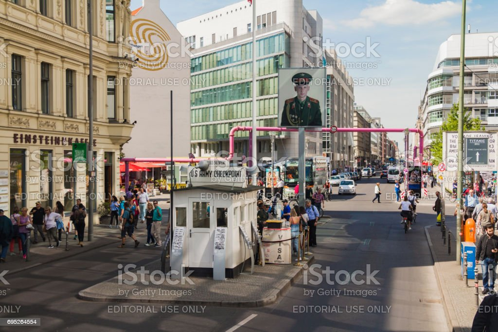 Tourists at Checkpoint Charlie stock photo