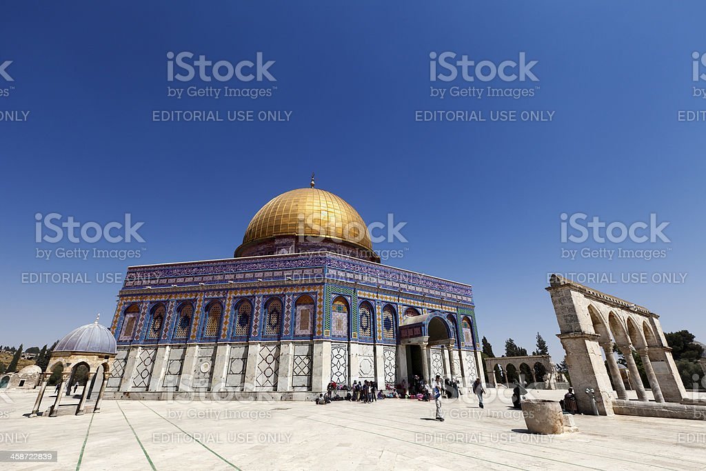 Tourists at Dome of the Rock stock photo