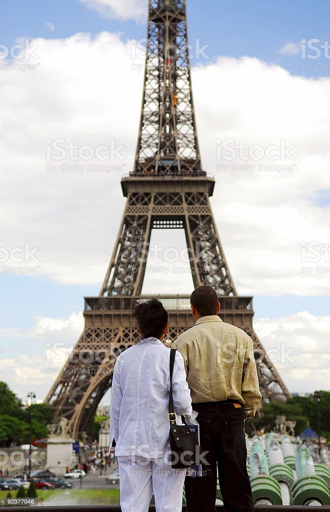 Tourists at Eiffel tower royalty-free stock photo