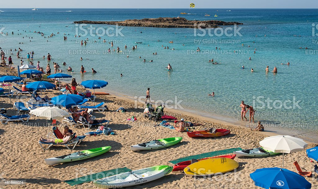 Tourists at Fig Tree bay Protaras ,  Cyprus stock photo