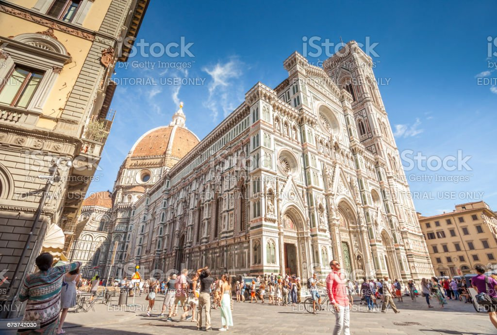 Tourists at Florence Cathedral, Italy. stock photo