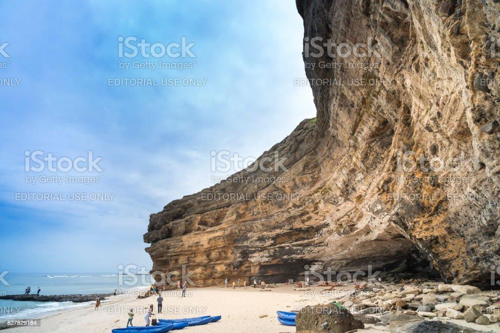 tourists at Hang Cau resort at Ly Son Island stock photo