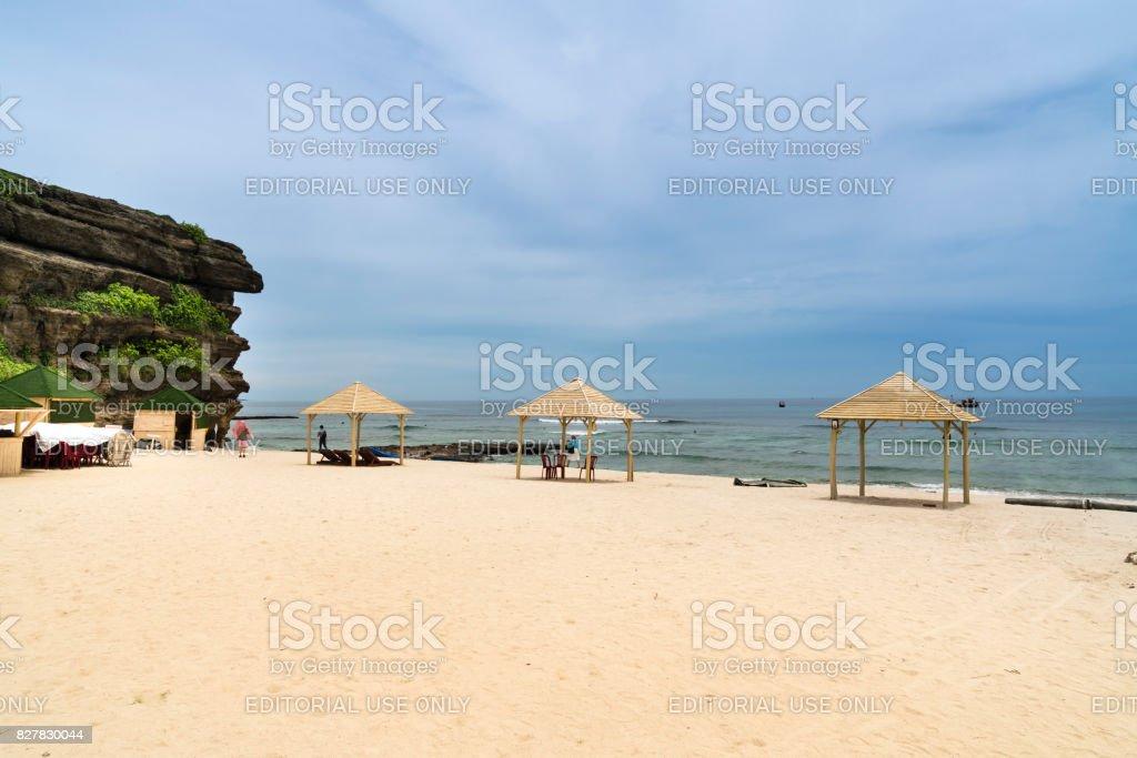 tourists at Hang Cau resort at Ly Son Island, Quang Ngai Province. stock photo