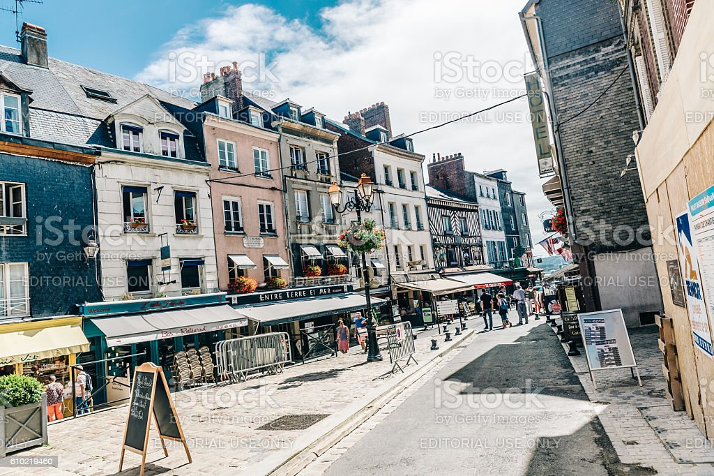 Tourists at Honfleur, Normandy, France stock photo