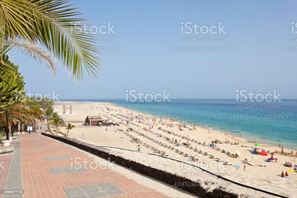 Tourists At Jandia Beach, Fuerteventura royalty-free stock photo