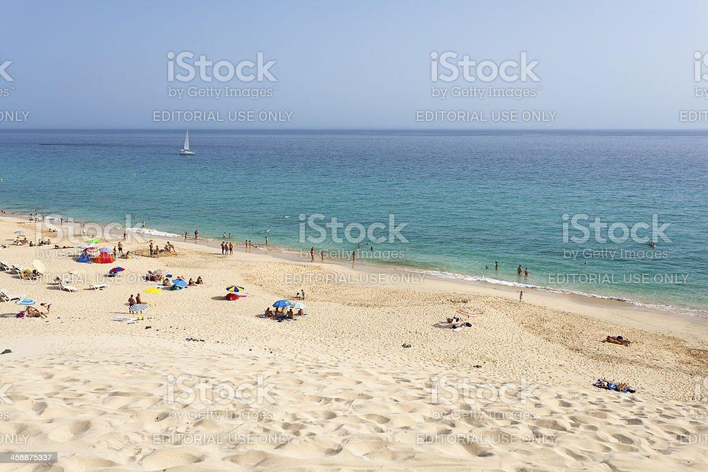 Tourists At Jandia Beach, Fuerteventura royalty-free stock photo