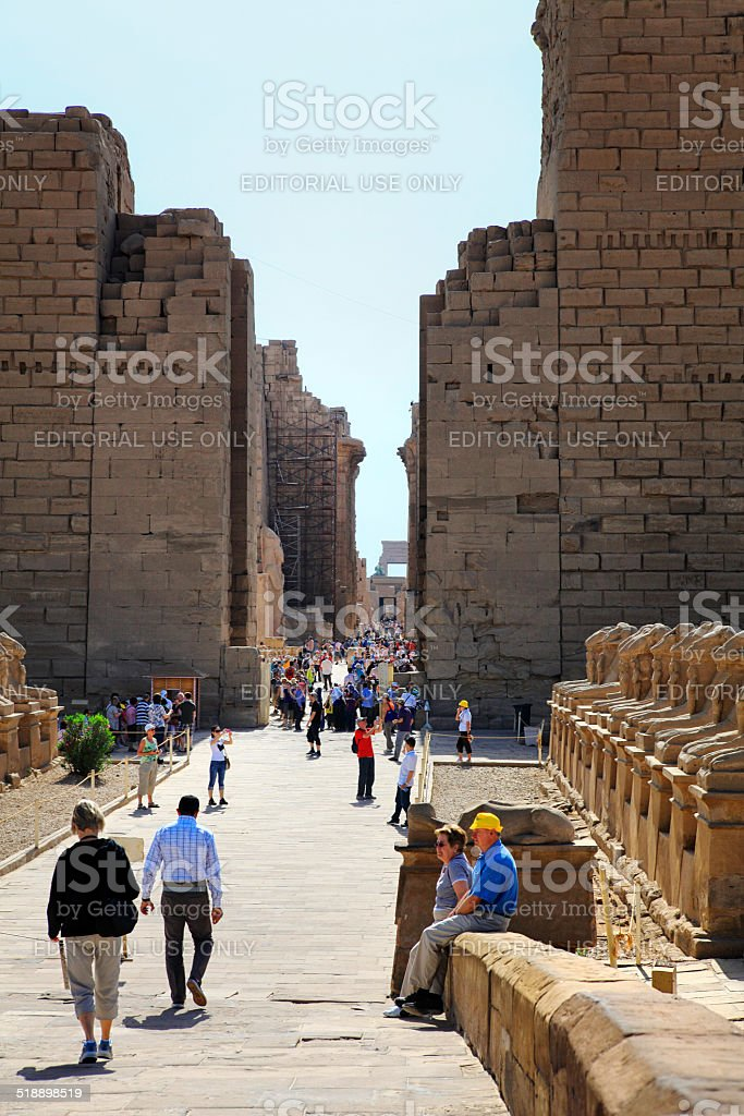 Tourists at Karnak Temple, Egypt stock photo