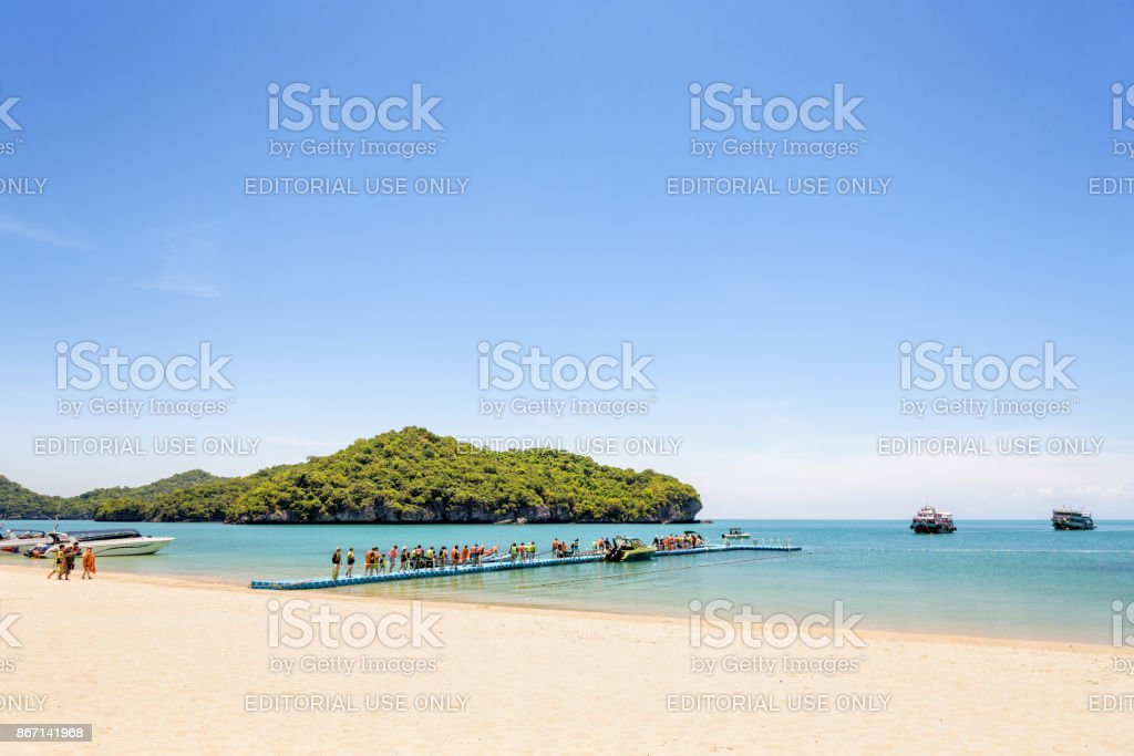 Tourists at Ko Wua Talap island stock photo