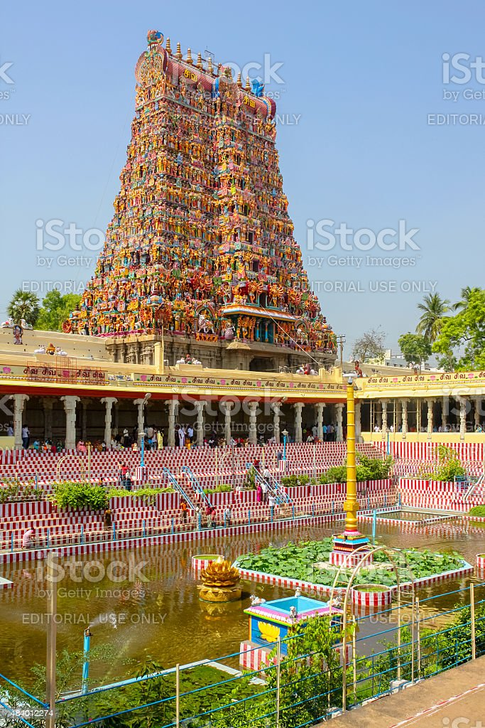 Tourists at Meenakshi Amman Temple in Madurai India stock photo