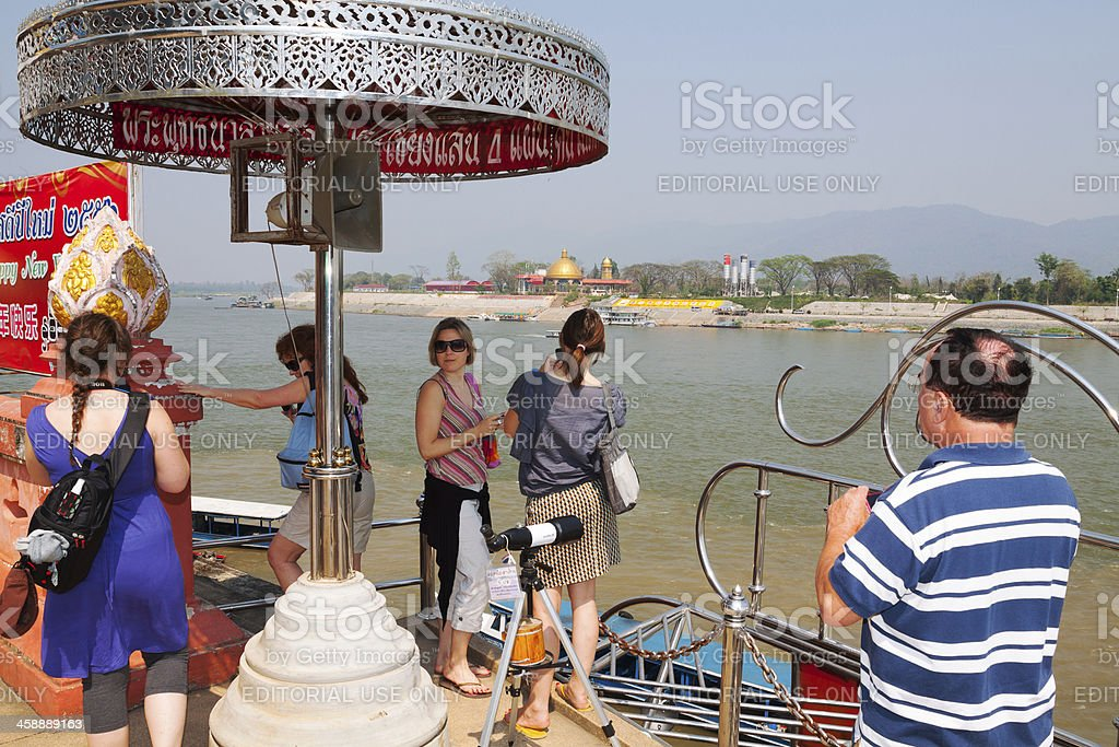 Tourists at Mekong river royalty-free stock photo
