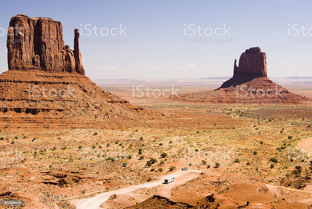 tourists at Monument Valley stock photo
