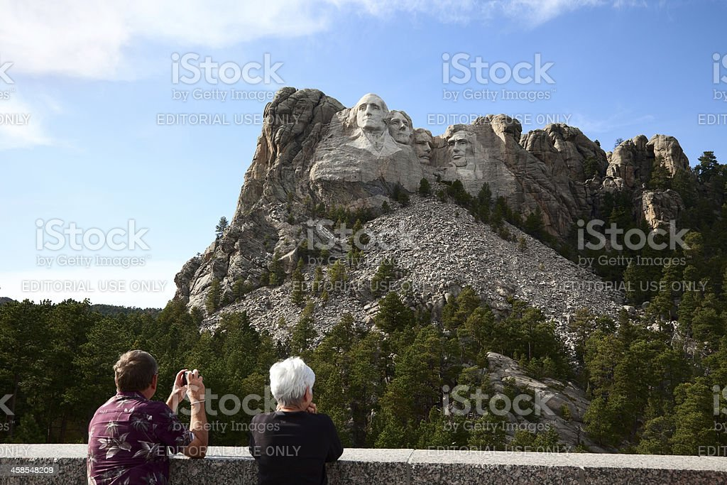 Tourists at Mount Rushmore Visitor Center stock photo