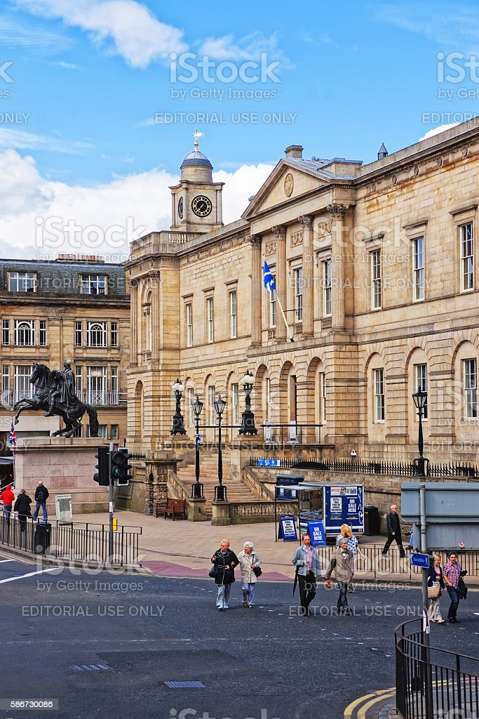 Tourists at National Archives of Scotland in Princess Street Edinburgh stock photo