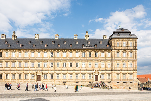 Tourists at Neue Residenz in Bamberg