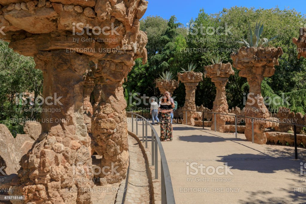 tourists at Park Guell in Barcelona stock photo