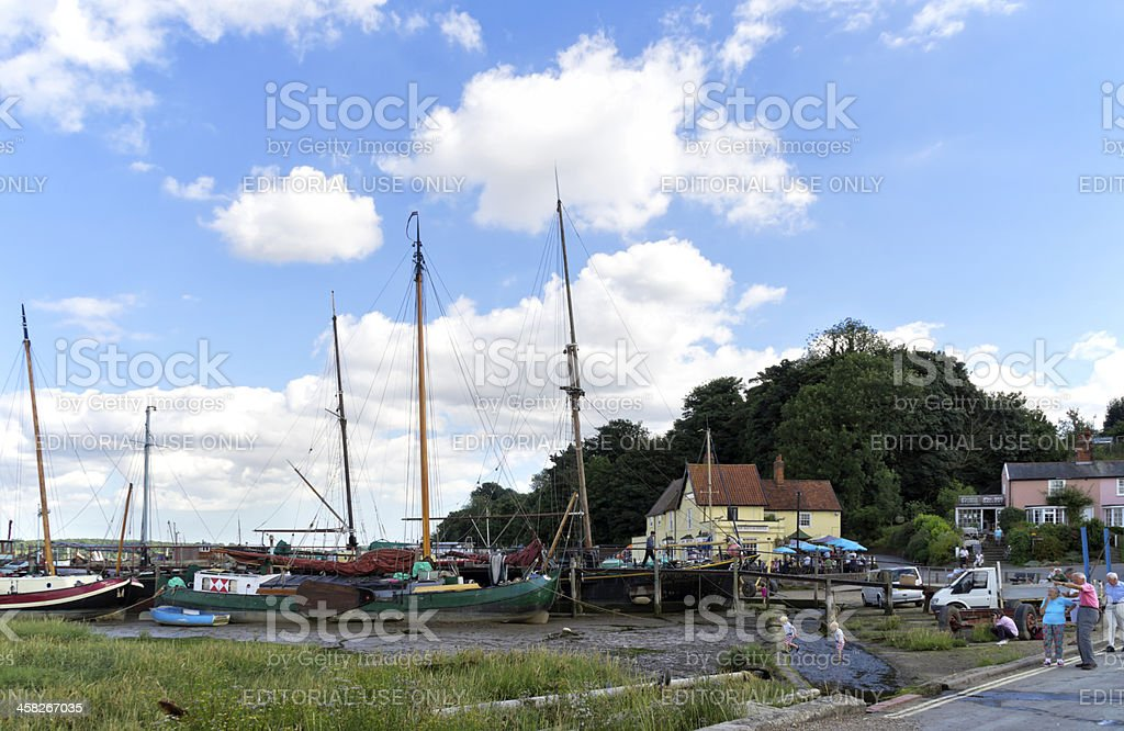 Tourists at Pin Mill stock photo
