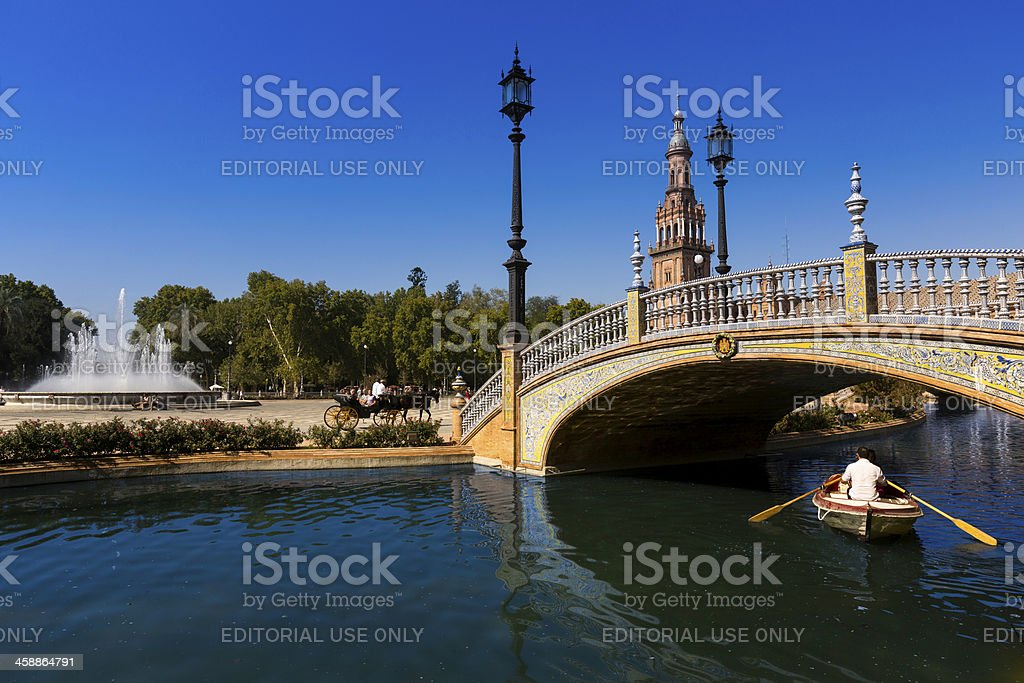 Tourists at Plaza de Espana, Seville royalty-free stock photo
