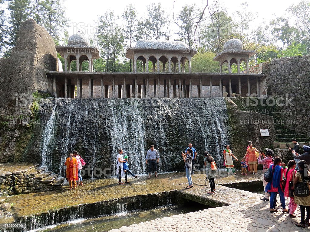 Tourists at Rock Garden, Chandigarh. stock photo