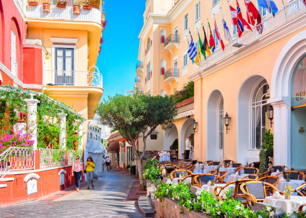 Tourists at Street cafes on Capri Island stock photo