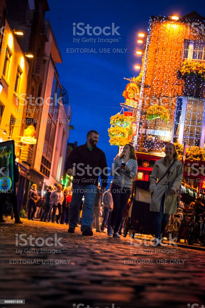 Tourists at Temple Bar District in Dublin, Ireland stock photo