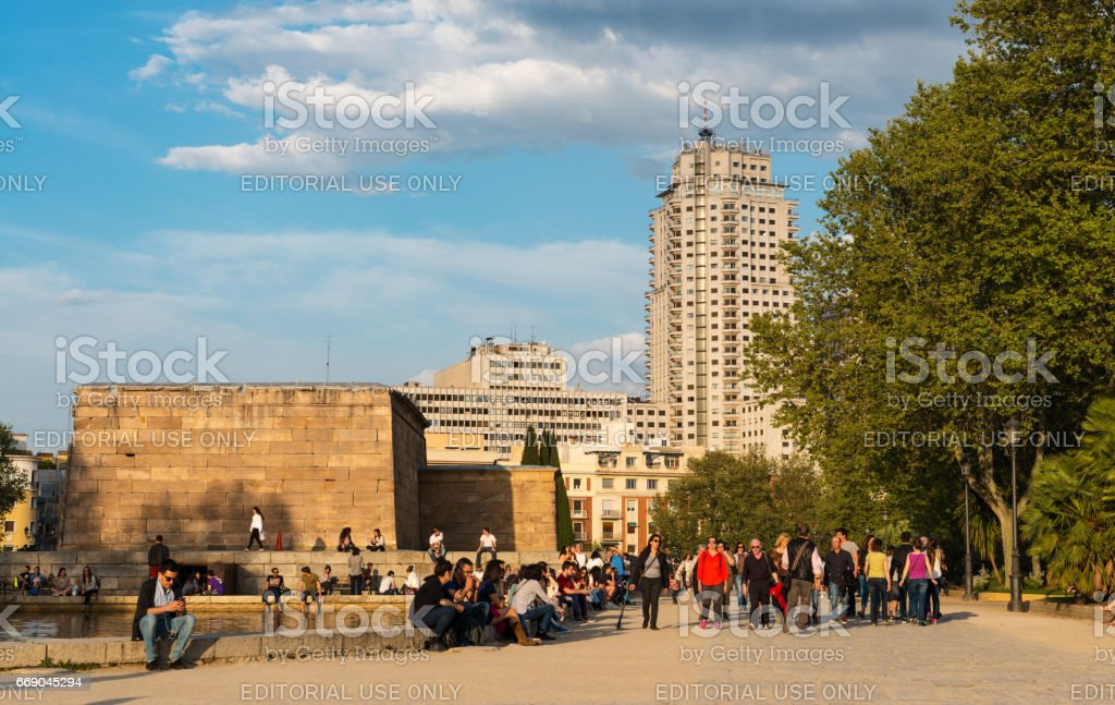 Tourists at Templo de Debod in Madrid at dusk stock photo