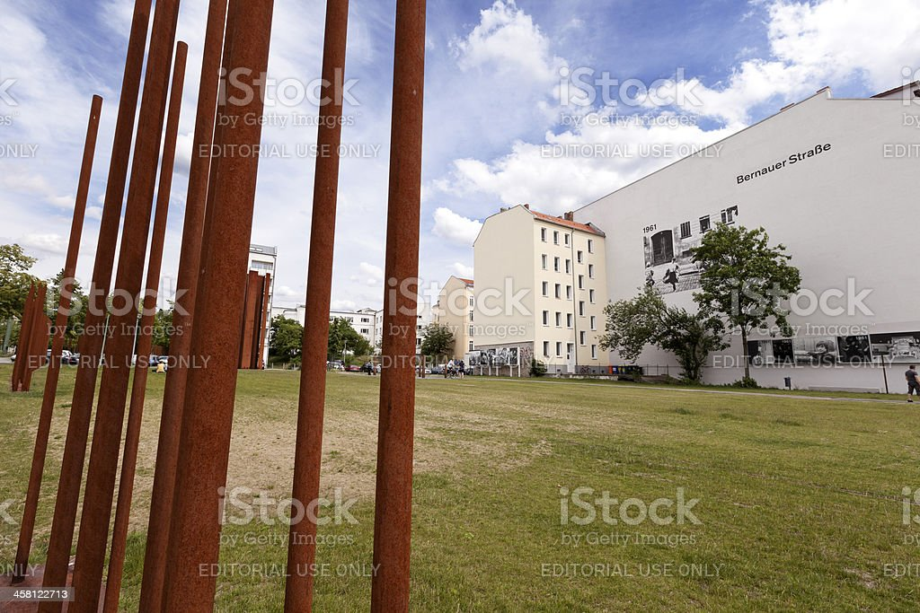 Tourists at the Berlin Wall Memorial Bernauer Strasse stock photo