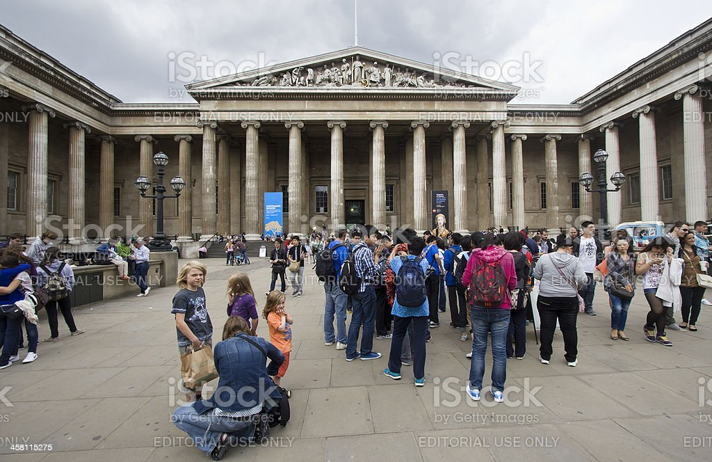 Tourists at the British Museum stock photo