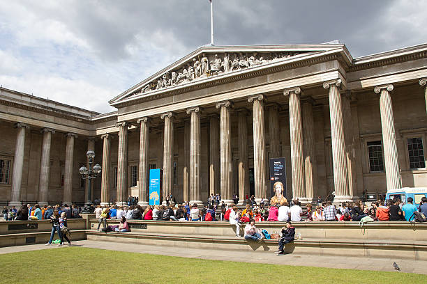 Tourists at the British Museum stock photo