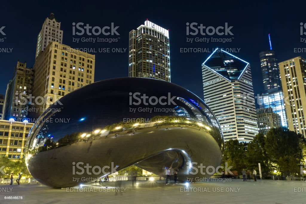 Tourists at the Cloud Gate stock photo