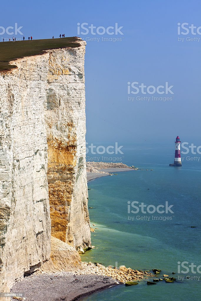 Tourists at the egde of the cliffs at Beachy Head stock photo