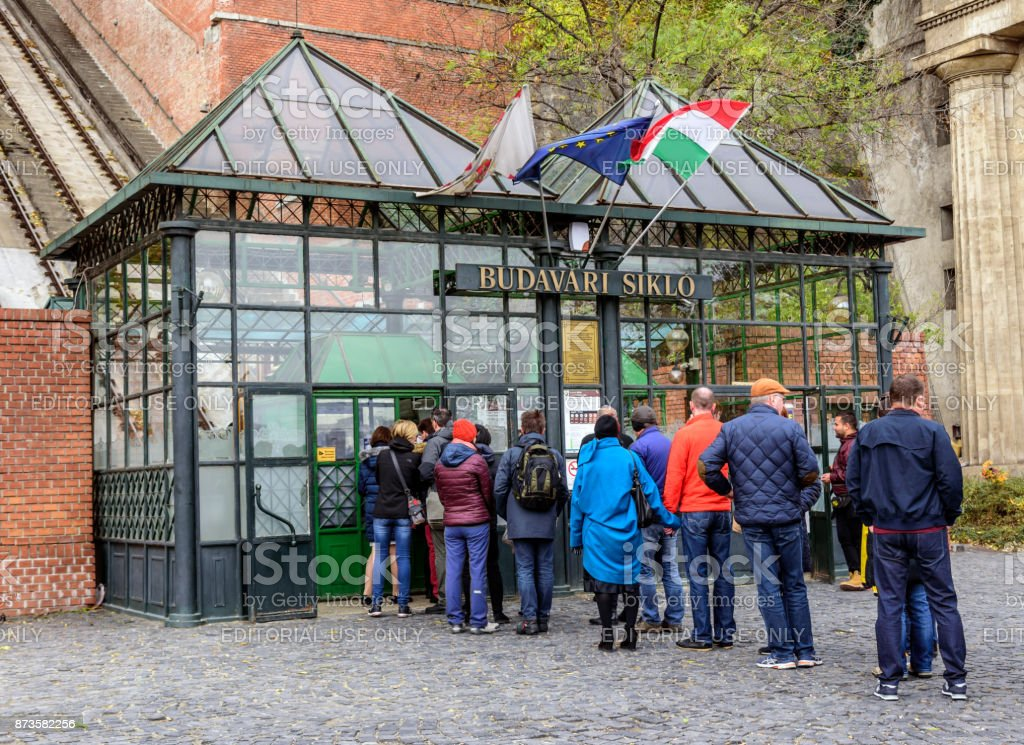 Tourists at the entrance to the funicular in Budapest stock photo