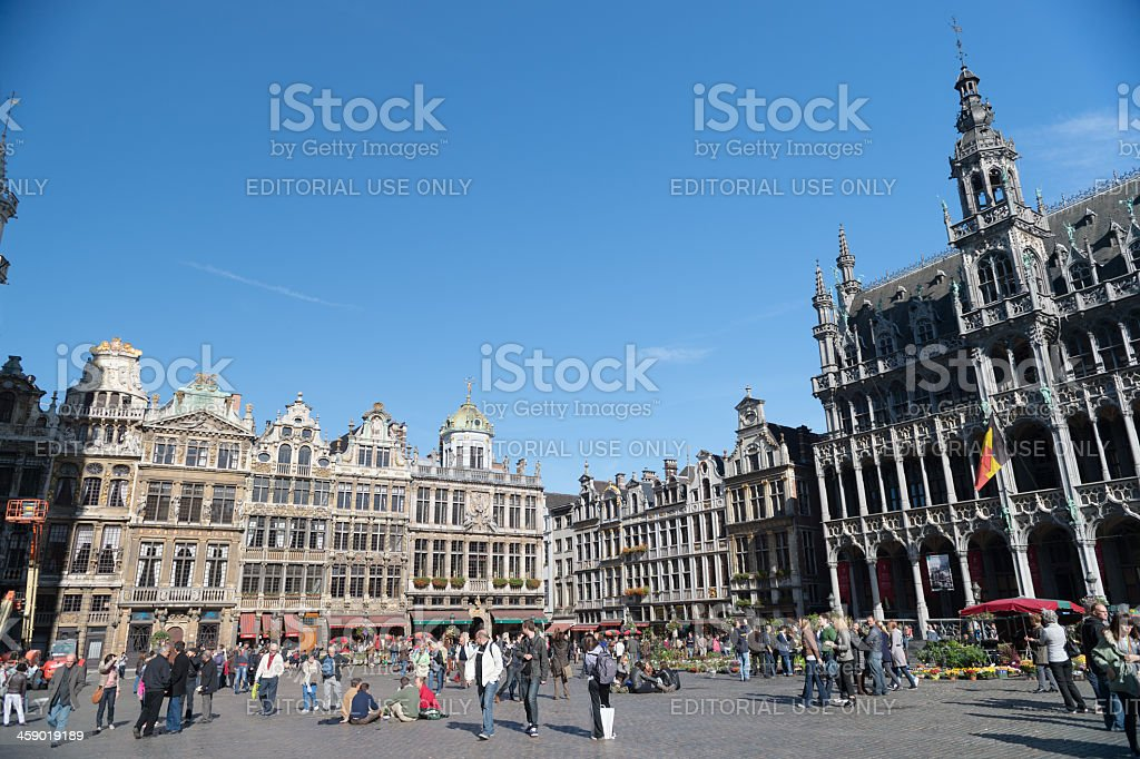 Tourists at the Grand Place in Brussels, Belgium royalty-free stock photo