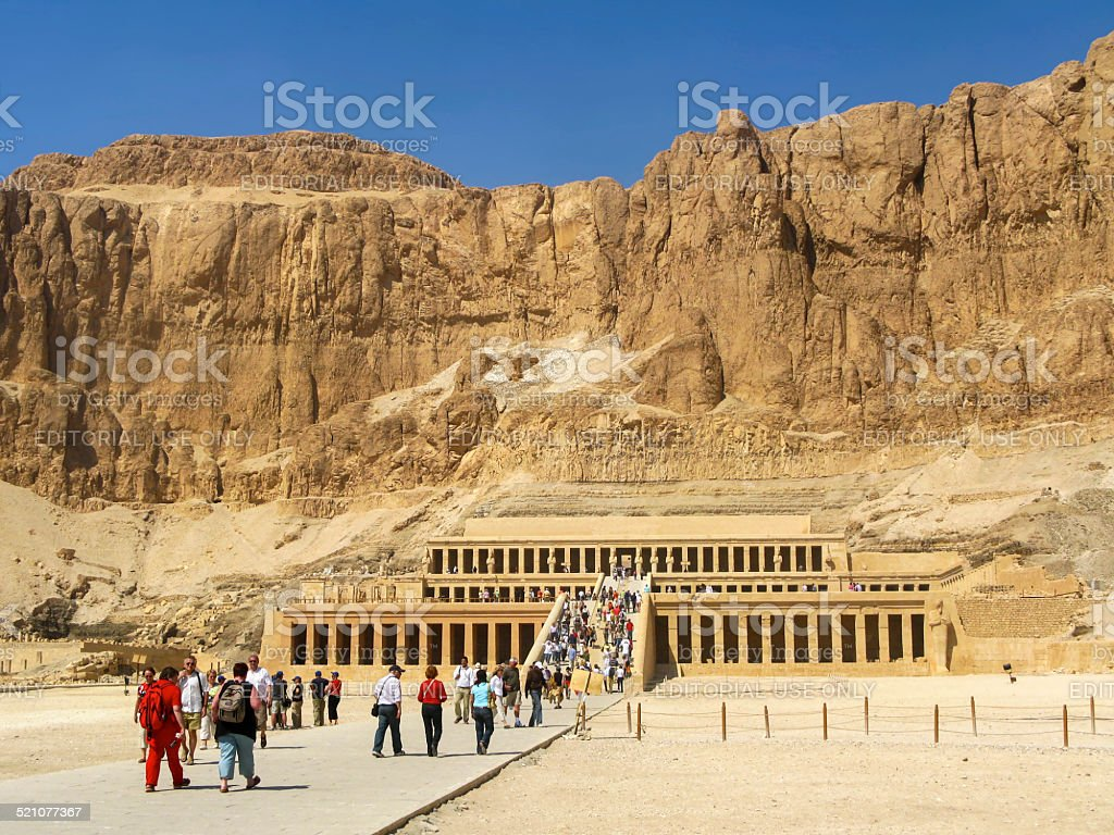 Tourists at the Great Temple of Hatshepsut, Luxor, Egypt stock photo