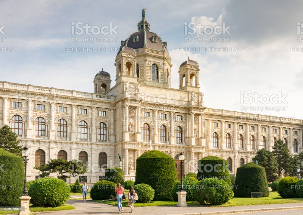 Tourists at the historic Maria-Theresien-Platz square in Vienna stock photo