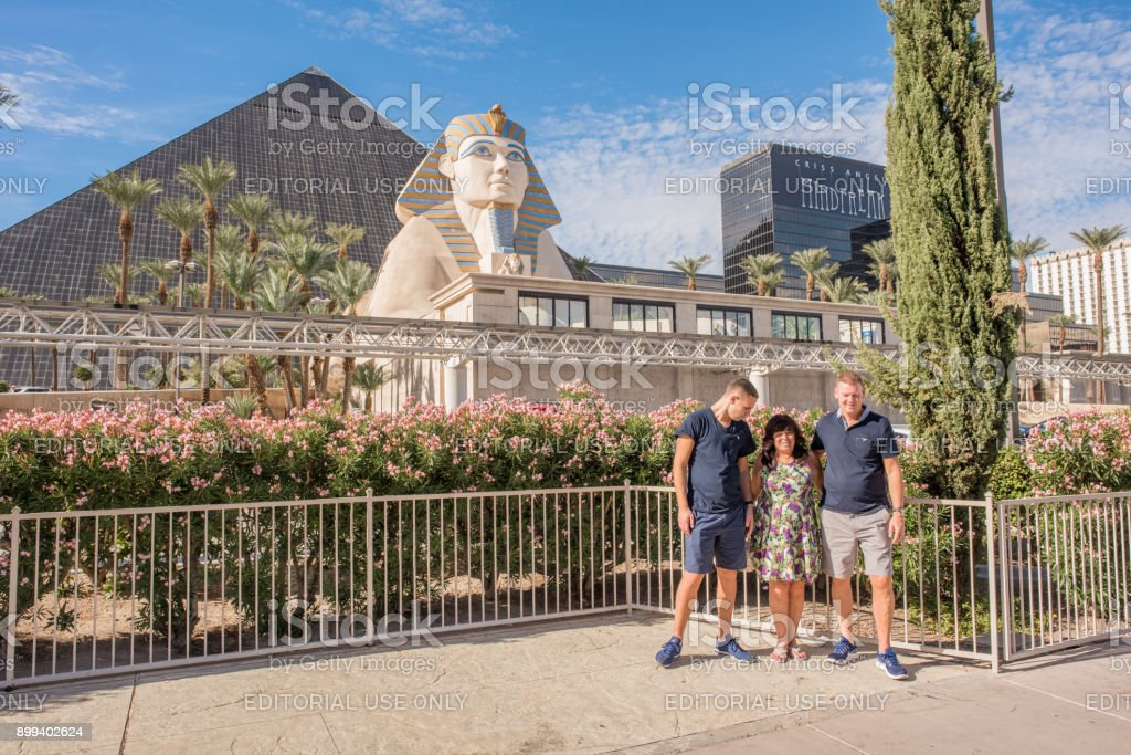 Tourists at the Luxor Hotel and Casino in Las Vegas stock photo
