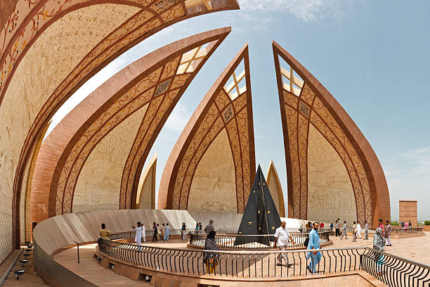 Tourists at the Pakistan Monument, Islamabad stock photo