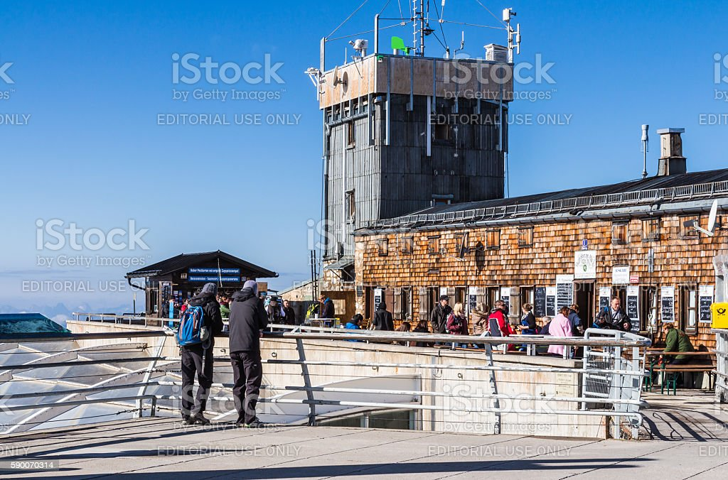 Tourists at the restaurant on Top of Germany stock photo