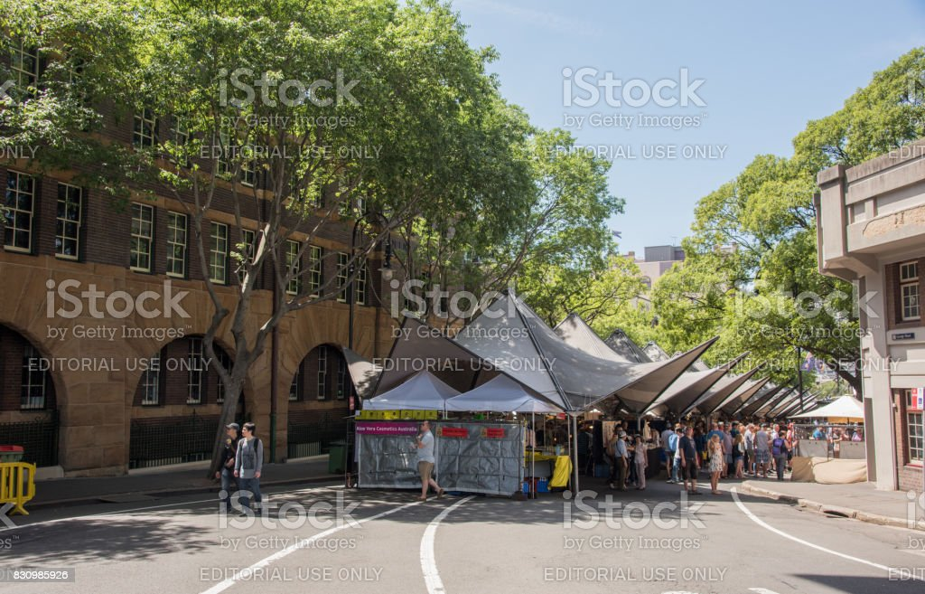 Tourists at The Rocks Markets stock photo