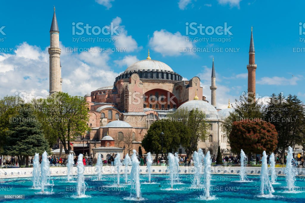 Tourists at the Sultanahmet square is the popular tourist place with the numerous landmarks and museums. stock photo
