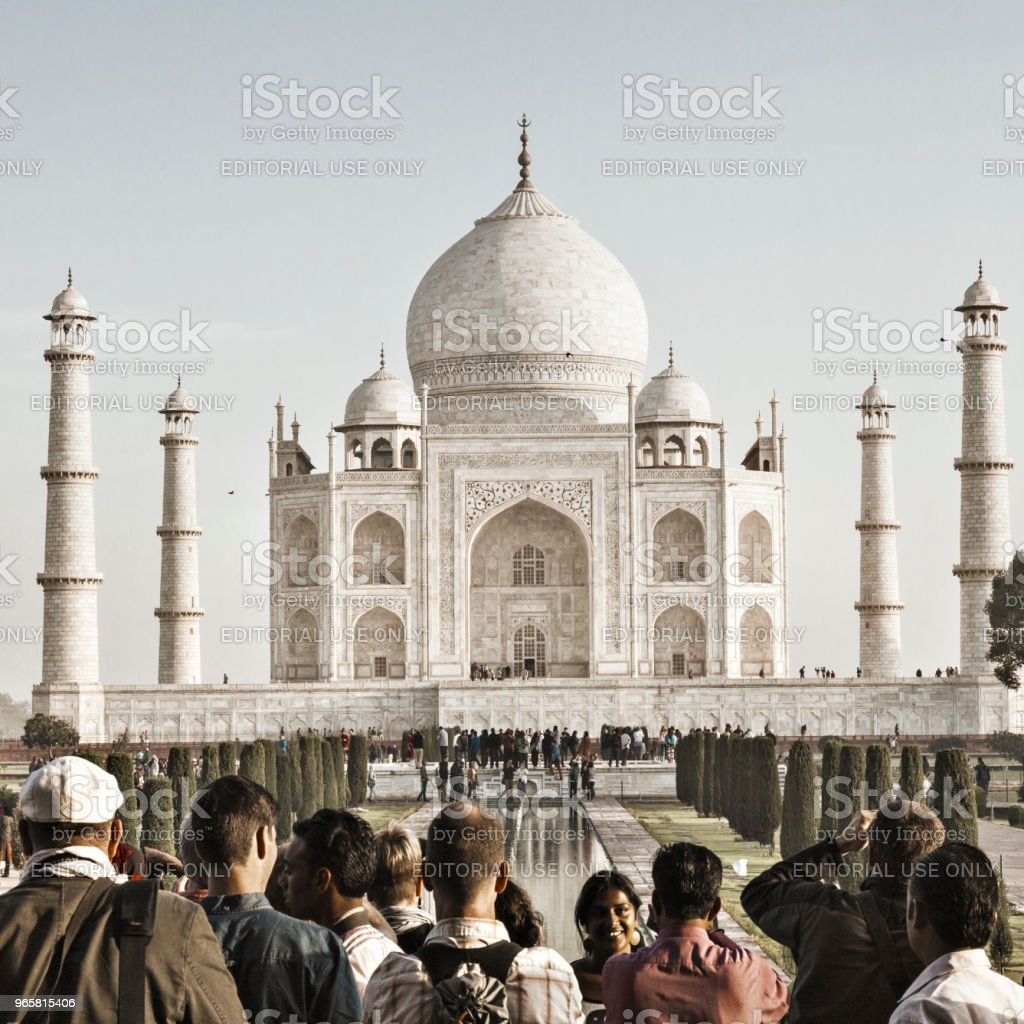 Tourists at the Taj Mahal in Agra, India - British Era - Royalty-free Agra Stock Photo