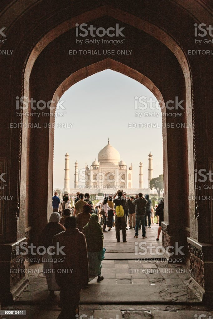 Tourists at the Taj Mahal in Agra, India - British Era - Royalty-free Agra Stock Photo