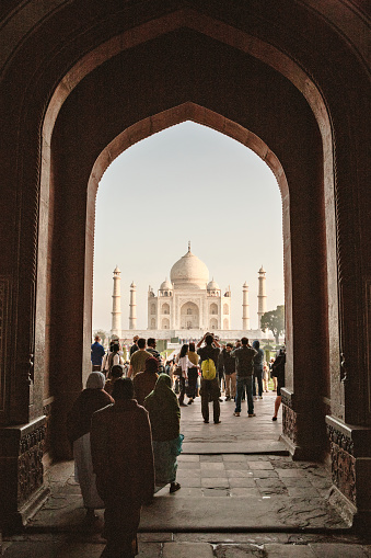 Tourists At The Taj Mahal In Agra India British Era Stock Photo - Download Image Now