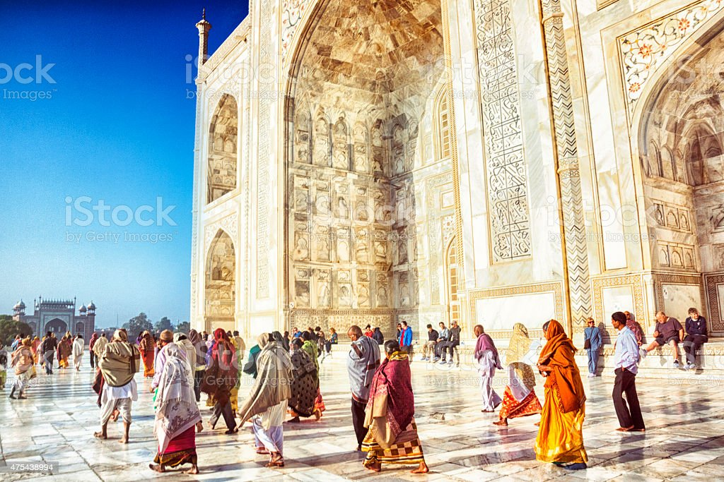 Tourists at the Taj Mahal stock photo