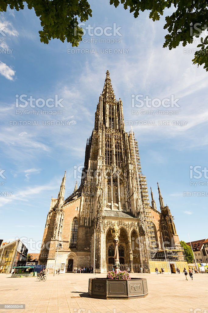 Tourists at the Ulm Minster royalty-free stock photo