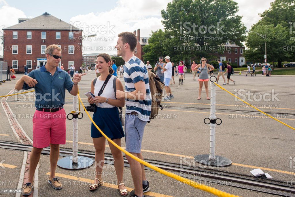 Tourists at the USS Constitution stock photo
